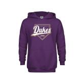 Youth Purple Fleece Hoodie-Dukes Softball Script w/ Plate