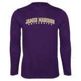 Performance Purple Longsleeve Shirt-James Madison University Arched