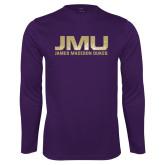 Performance Purple Longsleeve Shirt-JMU James Madison Dukes Textured