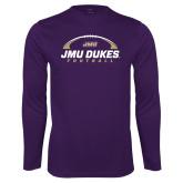 Performance Purple Longsleeve Shirt-JMU Dukes Football Under Ball
