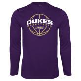 Performance Purple Longsleeve Shirt-Dukes Basketball Arched w/ Ball