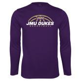 Performance Purple Longsleeve Shirt-JMU Dukes Basketball Half Ball