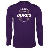 Performance Purple Longsleeve Shirt-Dukes Baseball w/ Seams