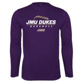 Performance Purple Longsleeve Shirt-JMU Dukes Baseball Stacked