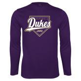 Performance Purple Longsleeve Shirt-Dukes Softball Script w/ Plate