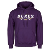 Purple Fleece Hoodie-Dukes Football Flat Over Ball