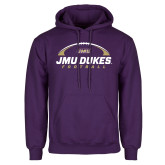 Purple Fleece Hoodie-JMU Dukes Football Under Ball