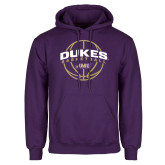 Purple Fleece Hoodie-Dukes Basketball Arched w/ Ball