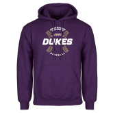 Purple Fleece Hoodie-Dukes Baseball w/ Seams