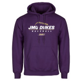 Purple Fleece Hoodie-JMU Dukes Baseball Stacked