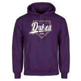 Purple Fleece Hoodie-Dukes Softball Script w/ Plate