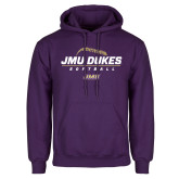 Purple Fleece Hoodie-JMU Dukes Softball Stacked