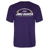 Performance Purple Tee-JMU Dukes Football Under Ball