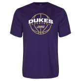 Performance Purple Tee-Dukes Basketball Arched w/ Ball