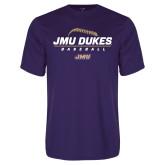 Performance Purple Tee-JMU Dukes Baseball Stacked