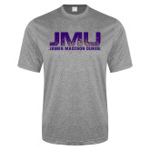 Performance Grey Heather Contender Tee-JMU James Madison Dukes Textured