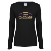 Ladies Black Long Sleeve V Neck Tee-We Are One - Kickoff 2017