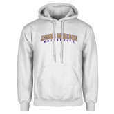 White Fleece Hoodie-James Madison University Arched
