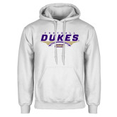White Fleece Hoodie-Dukes Football Flat Over Ball