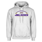 White Fleece Hoodie-JMU Dukes Football Under Ball
