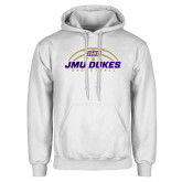 White Fleece Hoodie-JMU Dukes Basketball Half Ball