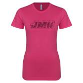 Ladies SoftStyle Junior Fitted Fuchsia Tee-JMU Hot Pink Glitter