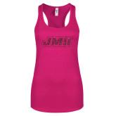 Next Level Ladies Raspberry Ideal Racerback Tank-JMU Hot Pink Glitter