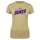 Ladies Syntrel Performance Vegas Gold Tee-Dukes Slanted