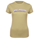 Ladies Syntrel Performance Vegas Gold Tee-James Madison University Arched