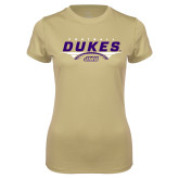 Ladies Syntrel Performance Vegas Gold Tee-Dukes Football Flat Over Ball
