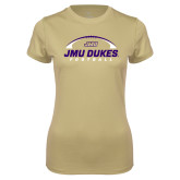 Ladies Syntrel Performance Vegas Gold Tee-JMU Dukes Football Under Ball