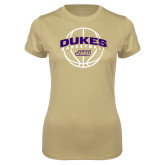 Ladies Syntrel Performance Vegas Gold Tee-Dukes Basketball Arched w/ Ball