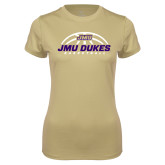 Ladies Syntrel Performance Vegas Gold Tee-JMU Dukes Basketball Half Ball