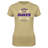 Ladies Syntrel Performance Vegas Gold Tee-Dukes Baseball w/ Seams