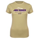 Ladies Syntrel Performance Vegas Gold Tee-JMU Dukes Softball Stacked