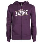 ENZA Ladies Purple Fleece Full Zip Hoodie-Dukes Slanted