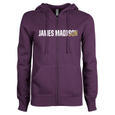ENZA Ladies Purple Fleece Full Zip Hoodie-James Madison Two Tone