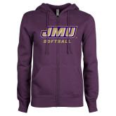 ENZA Ladies Purple Fleece Full Zip Hoodie-Softball