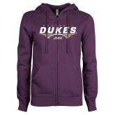 ENZA Ladies Purple Fleece Full Zip Hoodie-Dukes Football Flat Over Ball