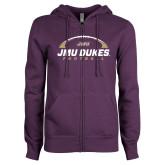 ENZA Ladies Purple Fleece Full Zip Hoodie-JMU Dukes Football Under Ball