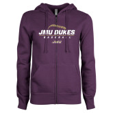 ENZA Ladies Purple Fleece Full Zip Hoodie-JMU Dukes Baseball Stacked