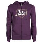ENZA Ladies Purple Fleece Full Zip Hoodie-Dukes Softball Script w/ Plate