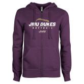ENZA Ladies Purple Fleece Full Zip Hoodie-JMU Dukes Softball Stacked