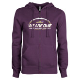 ENZA Ladies Purple Fleece Full Zip Hoodie-We Are One - Kickoff 2017