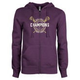 ENZA Ladies Purple Fleece Full Zip Hoodie-2018 Womens Lacrosse National Championship #1