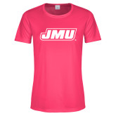 Ladies Performance Hot Pink Tee-Primary Logo
