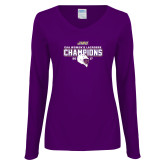 Ladies Purple Long Sleeve V Neck Tee-CAA 2017 Womens Lacrosse Champions
