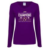 Ladies Purple Long Sleeve V Neck Tee-2018 CAA Mens Soccer Champions