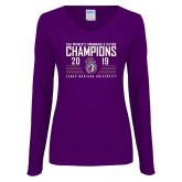 Ladies Purple Long Sleeve V Neck Tee-2019 Womens Swimming & Diving Champions
