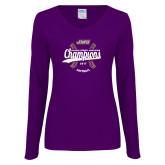 Ladies Purple Long Sleeve V Neck Tee-CAA 2017 Softball Champions